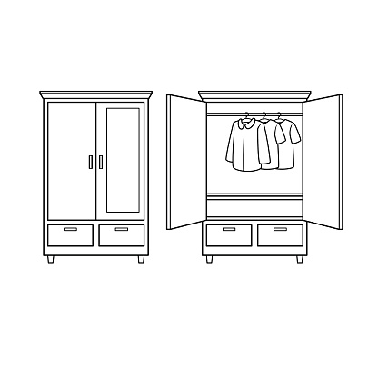 Black and white cartoon wardrobe for kids This is a vector illustration for preschool and home training for parents and teachers.
