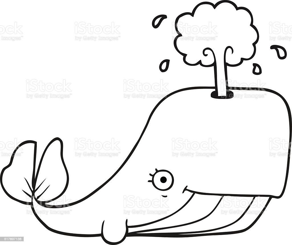 Black And White Cartoon Whale Spouting Water Stok Vektör Sanatı