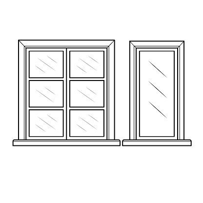 Black and white cartoon windows For Kids This is a vector illustration for preschool and home training for parents and teachers.