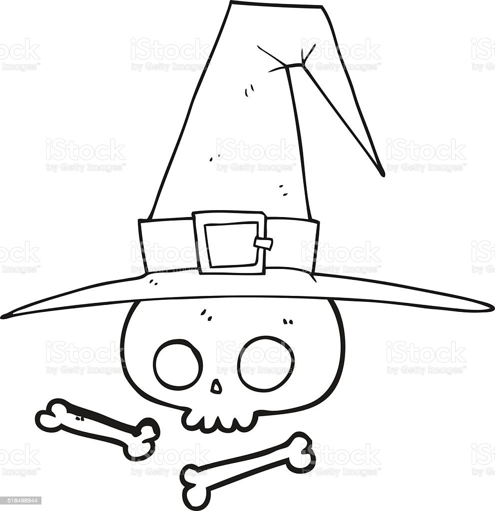 Freehand Drawn Black And White Cartoon Witch Hat With Skull