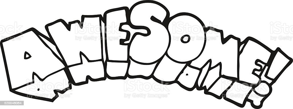 black and white cartoon word awesome stock vector art more images rh istockphoto com Store Sign Clip Art Wash Face Clip Art