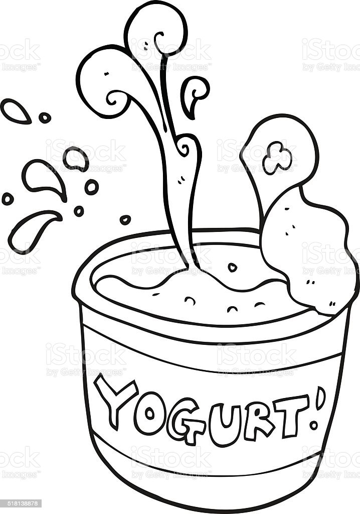 Black And White Cartoon Yogurt Stok Vektor Sanati Boyama Kitabi