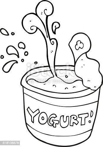 Black And White Cartoon Yogurt Stok Vektör Sanatı Boyama Kitabı