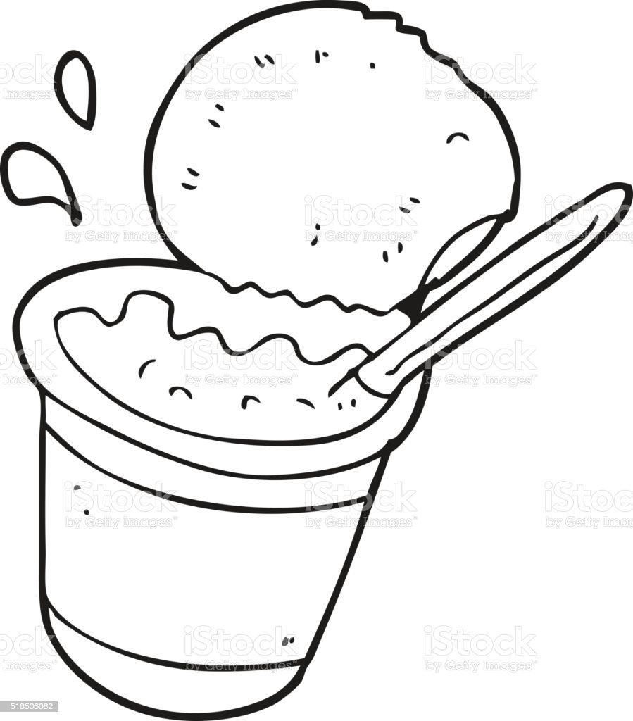 Black And White Cartoon Yogurt Stok Vektör Sanatı Birleşik Krallık