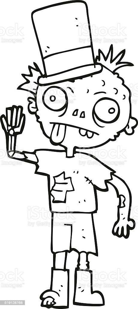 Black And White Cartoon Zombie Stock Illustration Download Image