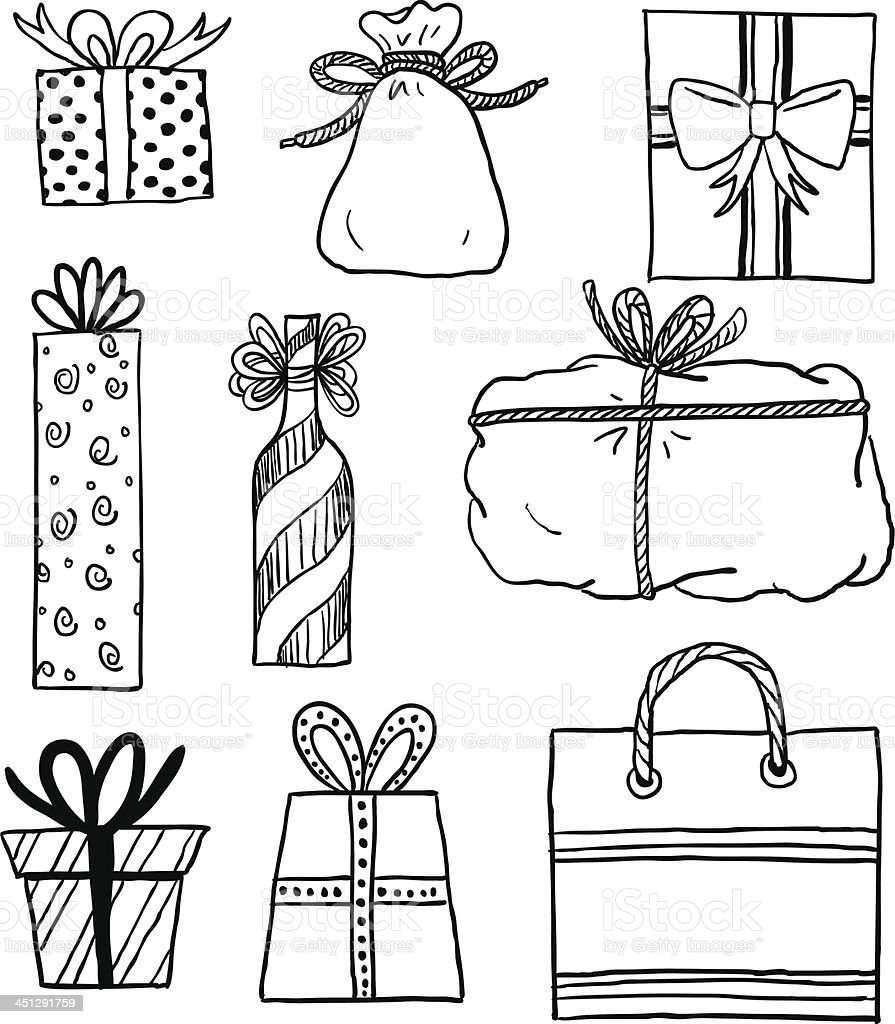 Black and white cartoons of gifts on white ground royalty-free stock vector art