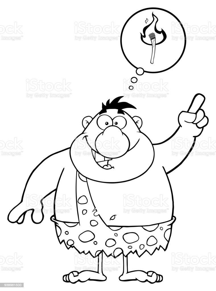 schwarz wei caveman cartoonfigur mit einer gro en idee und sprechblase stock vektor art und. Black Bedroom Furniture Sets. Home Design Ideas