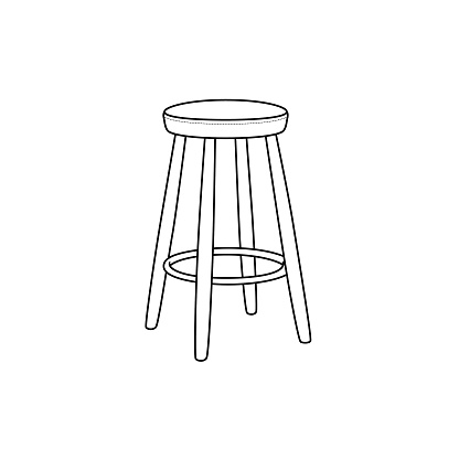 Black and white chair cartoon image This is a vector illustration for preschool and home training for parents and teachers.