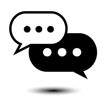 Black and White chat icon. Speech bobbles flat art symbol. Vector illustration.