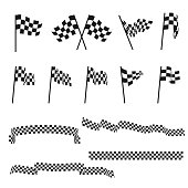 Black and white checkered auto racing flags and finishing tape vector set