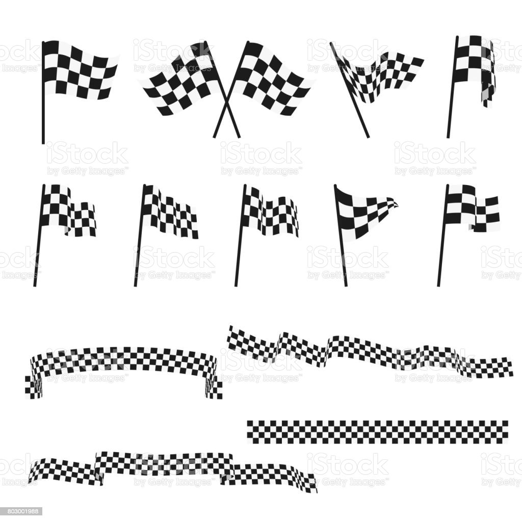 Black and white checkered auto racing flags and finishing tape vector set vector art illustration