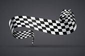 Black and white checkered flag or banner
