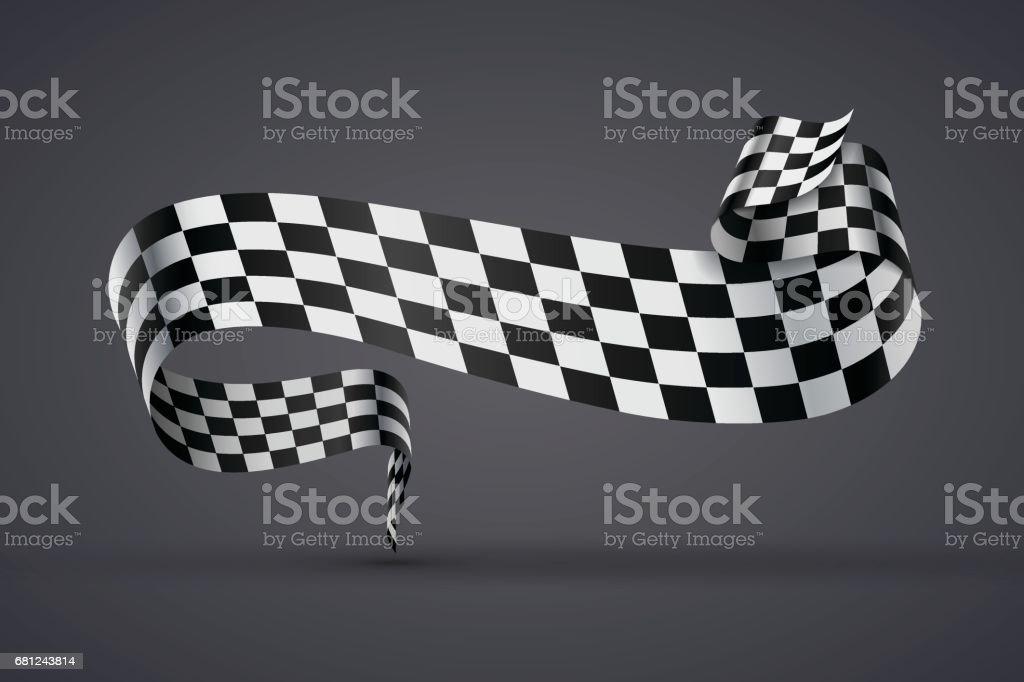 Black and white checkered flag or banner vector art illustration