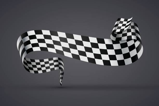 black and white checkered flag or banner - finish line stock illustrations, clip art, cartoons, & icons