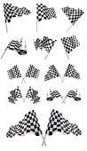 Black and white checkered flags