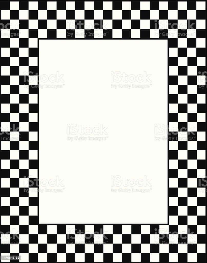Black And White Checkered Frame vector art illustration