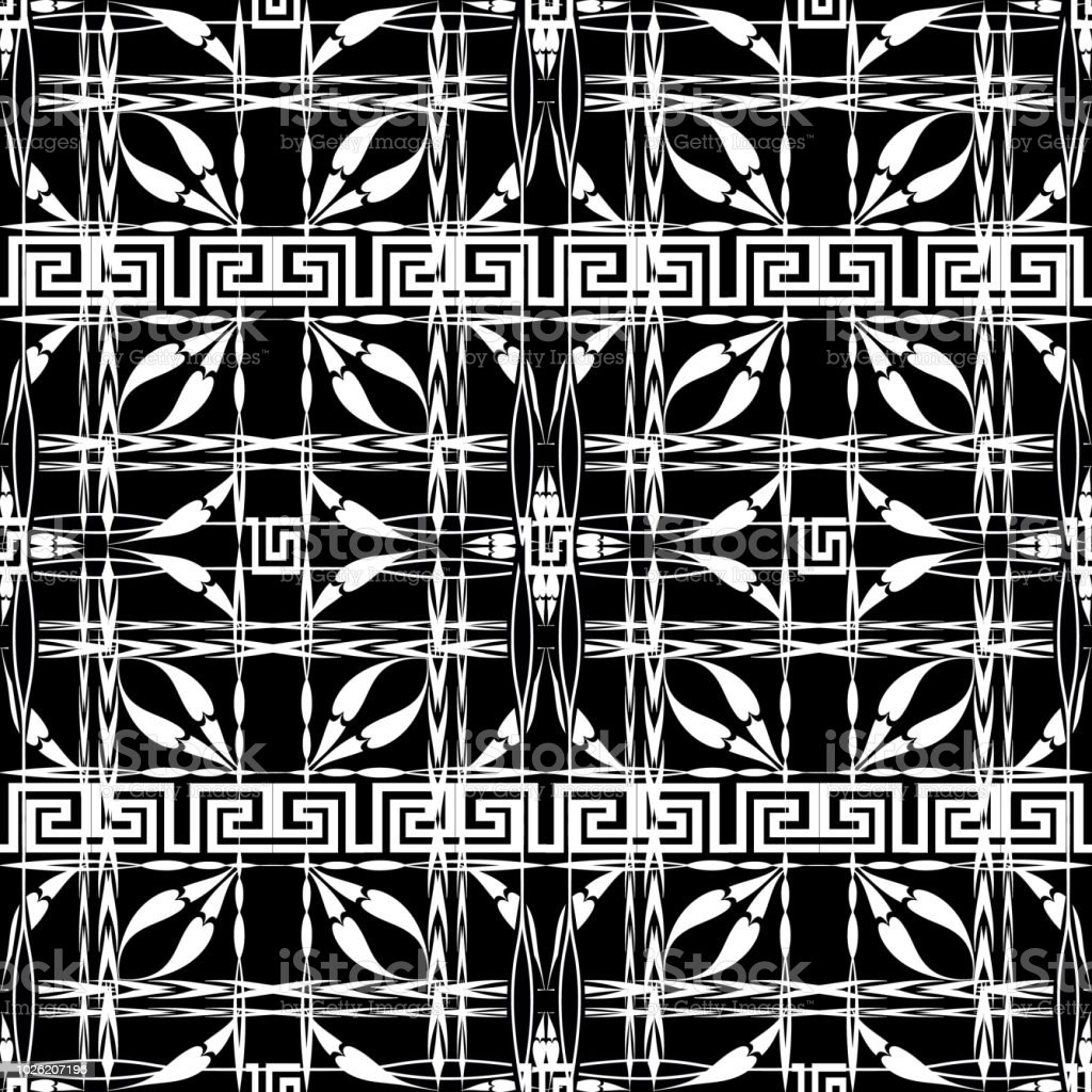 Black And White Checkered Greek Vector Seamless Pattern Striped
