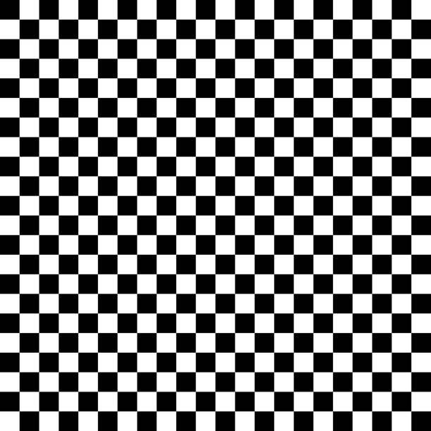 black and white checkered seamless pattern - checked pattern stock illustrations