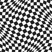 black and white checkered wavy surface. abstract distorted plane with square tiles. vector background