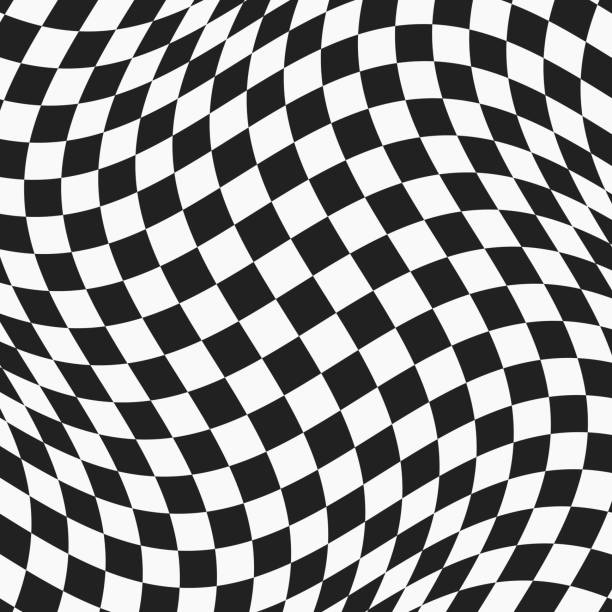 black and white checkered wavy surface - checked pattern stock illustrations