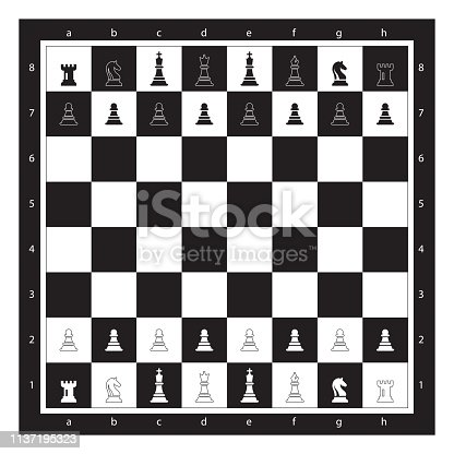 istock Black and White Chess Board With Chess Figurine Algebraic Notation. Chess Game Vector illustration. 1137195323