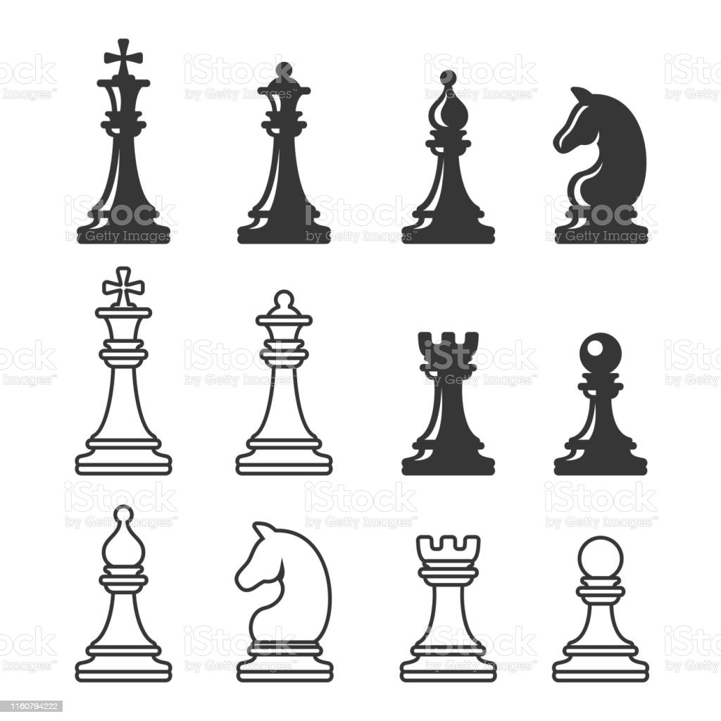 Black and White Chess Game Figures. Vector - Royalty-free Arte arte vetorial