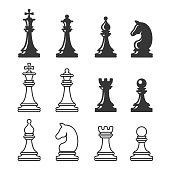 Black and White Chess Game Figures. Vector illustration