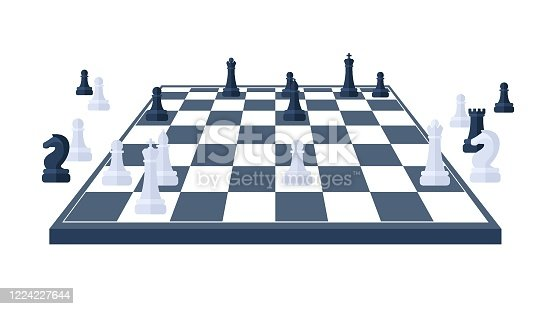 Black and white chess pieces on chessboard. Chess combination cross. Vector illustration
