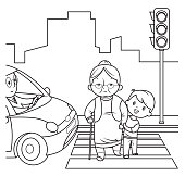Vector Black and White, Child helping old woman cross the street