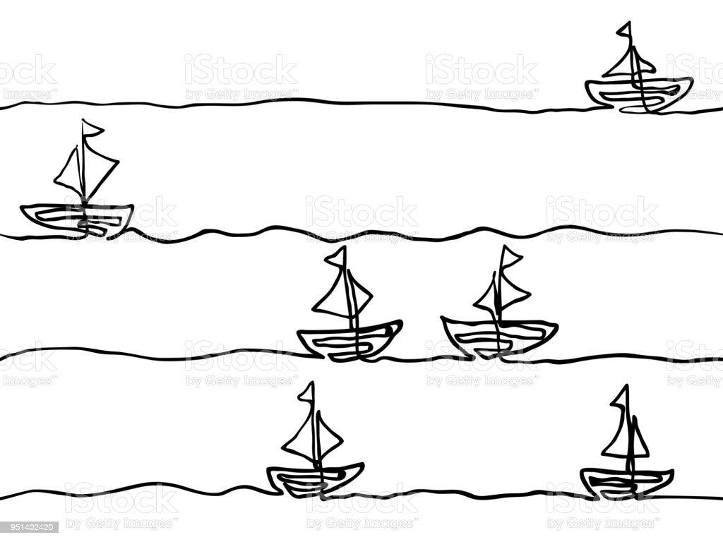 Vetores De Mao Infantil Preto E Branco Linha Desenhada Arte Barco