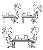 Vector Black and white Children Using Laptop