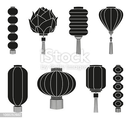Black and white chinese lantern silhouette set Oriental new year decoration. Holiday themed vector illustration for icon, stamp, label, sticker, certificate, gift card, invitation or banner decoration