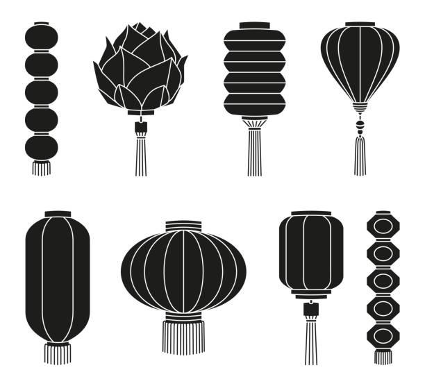 bildbanksillustrationer, clip art samt tecknat material och ikoner med svart och vitt kinesiska lantern siluett set - rislampa