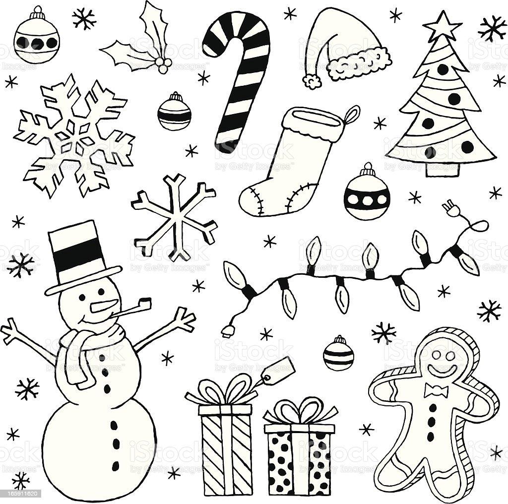 Black and white Christmas clip art images vector art illustration