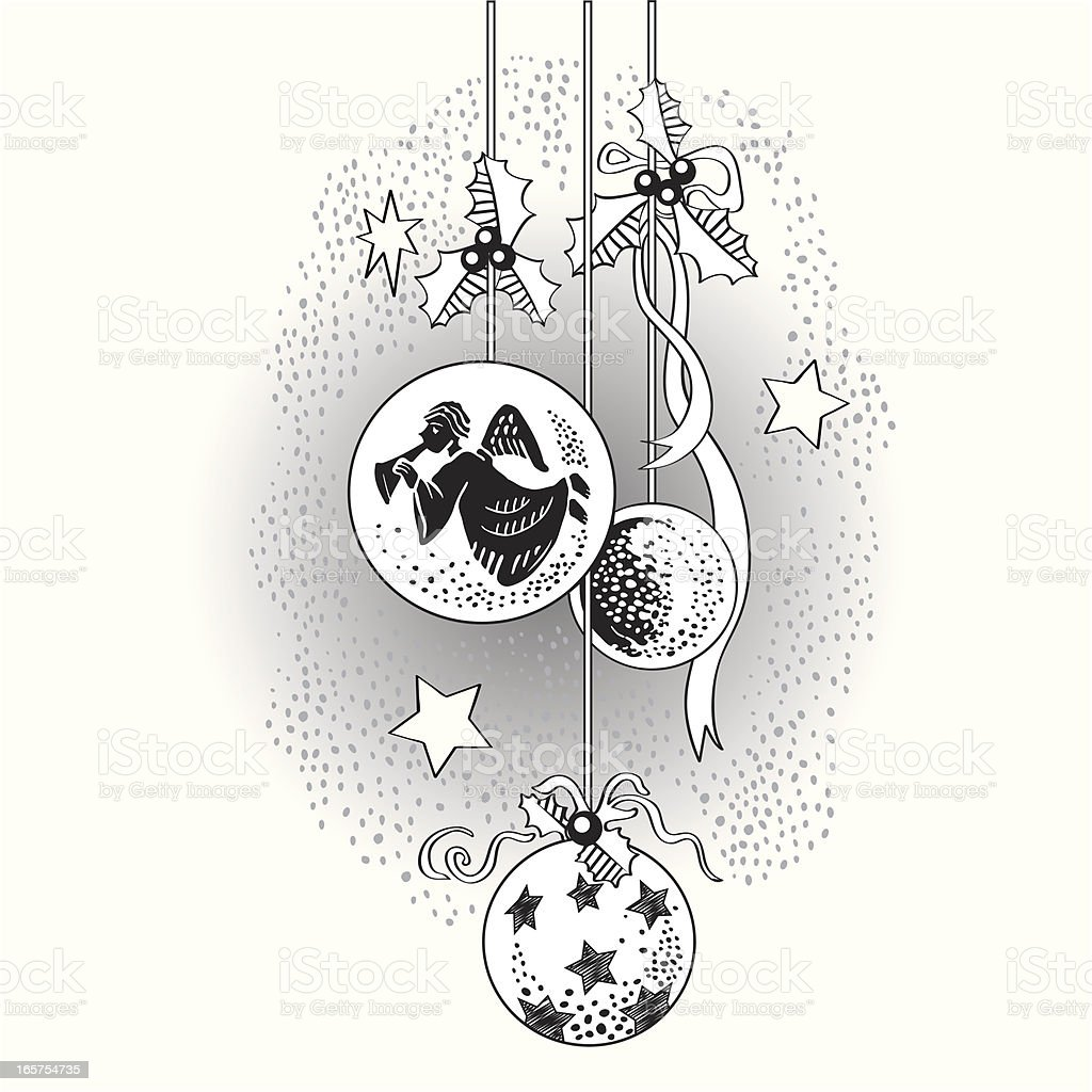 Black and white Christmas ornaments royalty-free stock vector art
