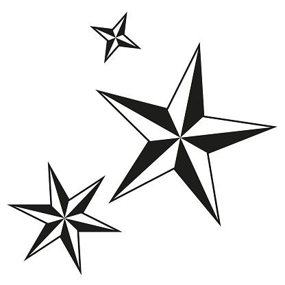 Black and white christmas stars silhouette set