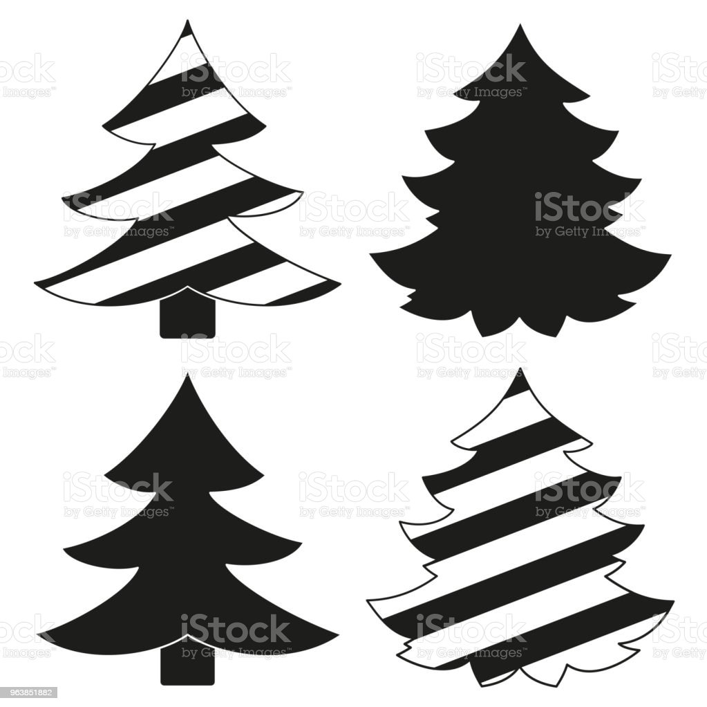 Black and white christmas tree silhouette set. - Royalty-free 2019 stock vector