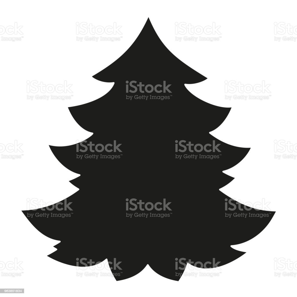 Black and white christmas tree silhouette. - Royalty-free 2019 stock vector
