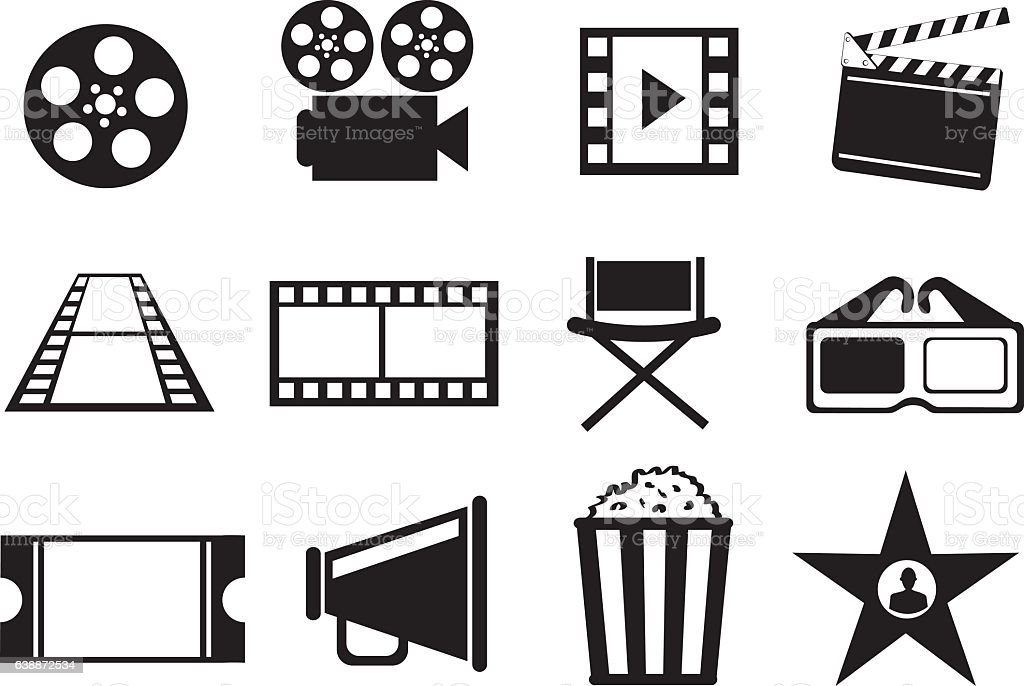 Black and White Cinema Movie Entertainment Vector Icon Set vector art illustration