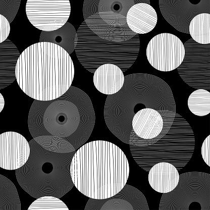 Black and white circle seamless pattern background artdeco wallpaper design
