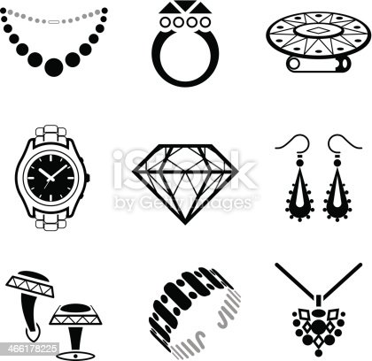 Black And White Clip Art Jewelry Images Stock Vector Art ...