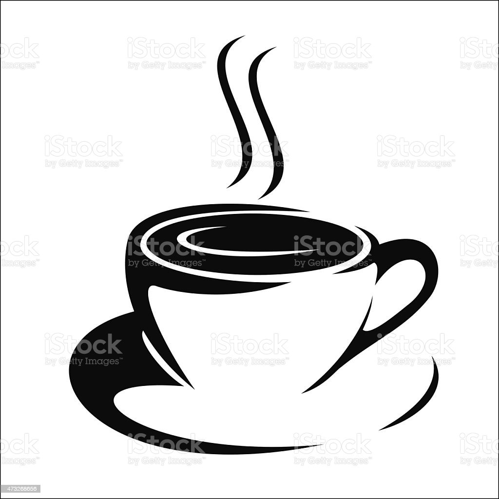Black and white clip art of steaming coffee in a mug vector art illustration