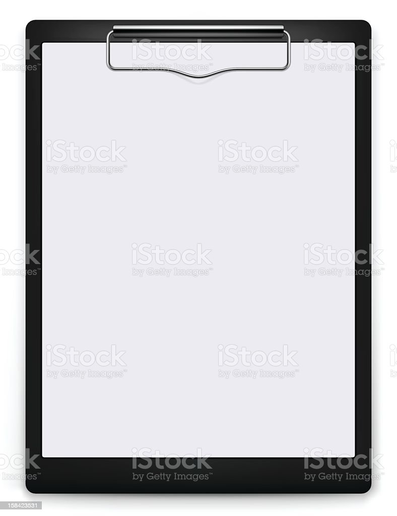 Black and white clip board with blank paper on top  vector art illustration