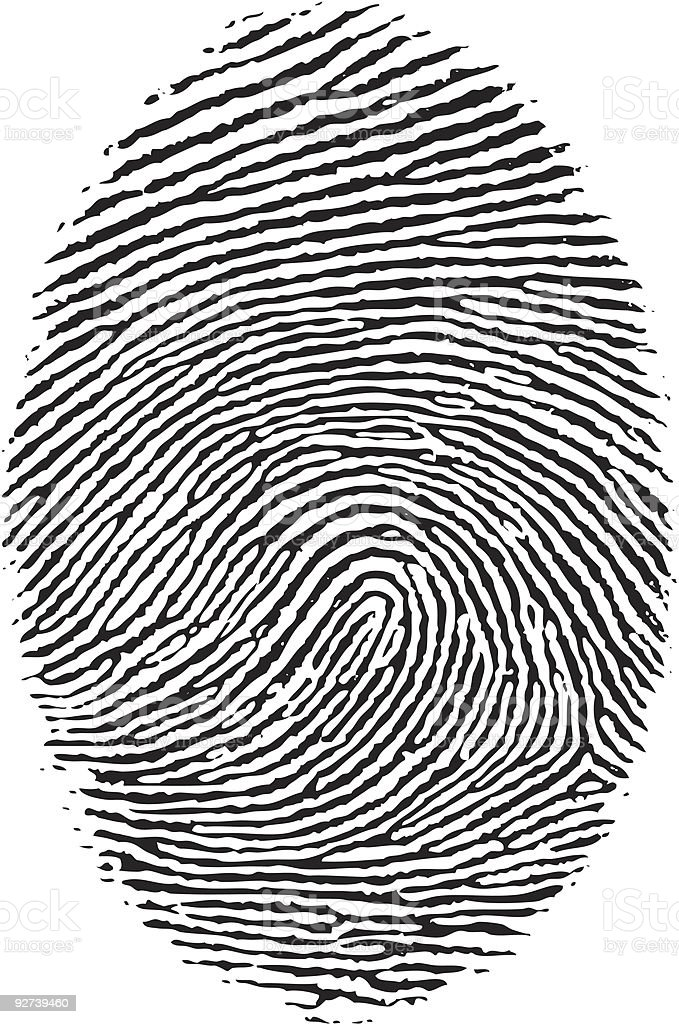 Black and white close up of a fingerprint royalty-free stock vector art
