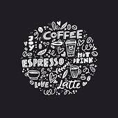 Vector illustration of coffee symbols with words like espresso, latte. Element for restaurant menu.