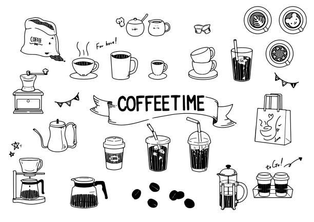 schwarz und weiß kaffee-illustration-set. - cafe stock-grafiken, -clipart, -cartoons und -symbole