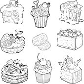 Black and white collection of sweet pastries
