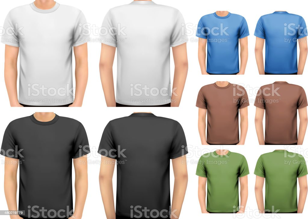 Black and white color men t-shirts. vector art illustration