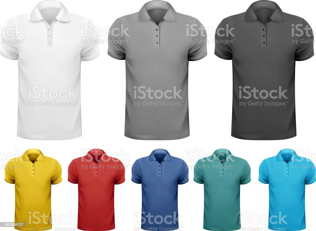 Black and white, color men t-shirts. vector art illustration