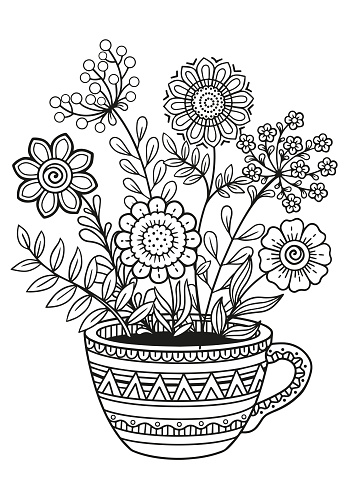 Black and white coloring book page for adult. Doodle flowers in cup